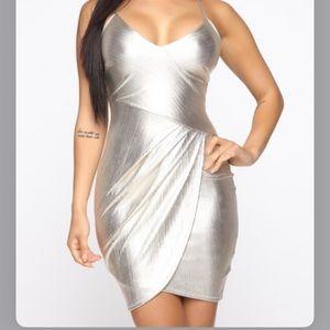 Fashion nova silver/gold dress. Only warn once!